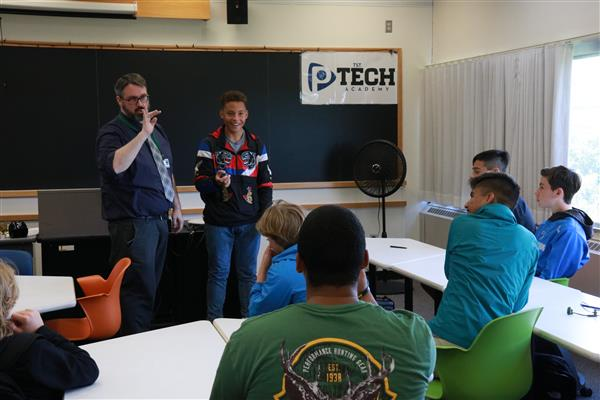 P-TECH students in classroom at Tompkins Cortland Community College