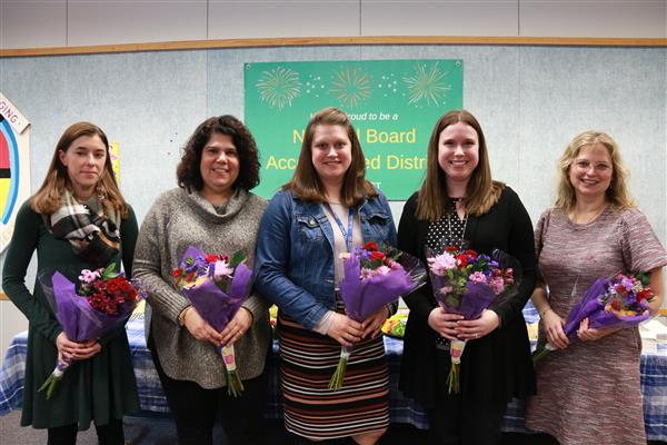 five educators being recognized for achieving national board certification